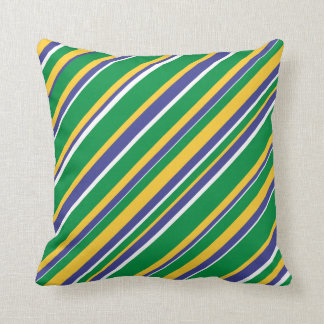 Flag of Brazil Inspired Colored Stripes Pattern Throw Pillow