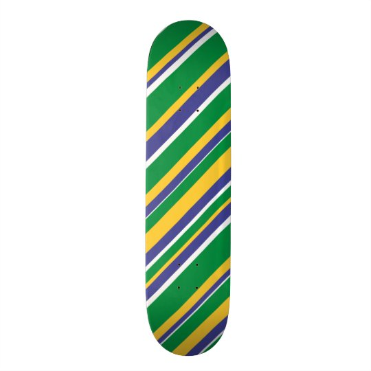 Flag of Brazil Inspired Coloured Stripes Pattern Skate Boards
