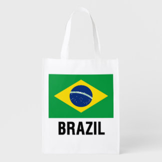fLAG OF bRAZIL OUTLINE Reusable Grocery Bag