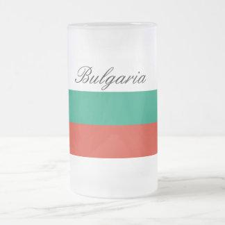 Flag of Bulgaria or Bulgarian Frosted Glass Beer Mug
