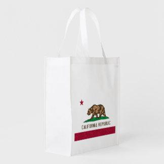 Flag of California Republic Sponge Paint Reusable Grocery Bag