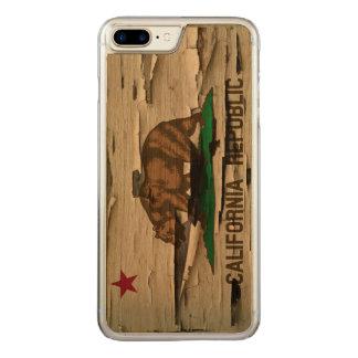 Flag of California Republic Vintage Wood Peel Look Carved iPhone 8 Plus/7 Plus Case