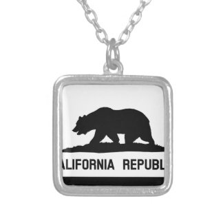 Flag of California Silver Plated Necklace