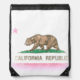 Flag of California Vintage Fade Drawstring Backpack
