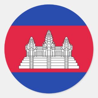 Flag of Cambodia - Cambodian Flag Classic Round Sticker