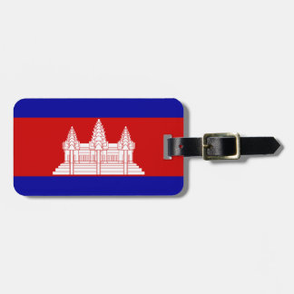 Flag of Cambodia Luggage Tag w/ leather strap