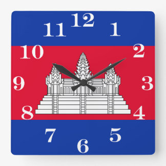 Flag of Cambodia Square Wall Clock