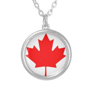 Flag of Canada - Drapeau du Canada Silver Plated Necklace