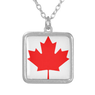 Flag of Canada - Drapeau du Canada Silver Plated Necklace