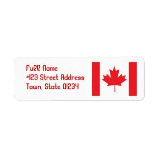 Flag of Canada Mailing Labels Return Address Label