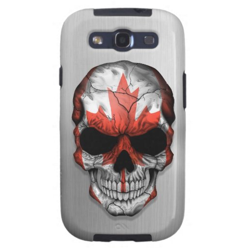 Flag of Canada on a Steel Skull Graphic Samsung Galaxy SIII Cases