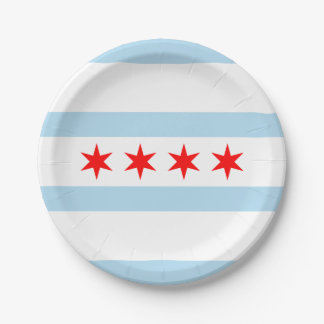 Flag of Chicago, Illinois Paper Plate