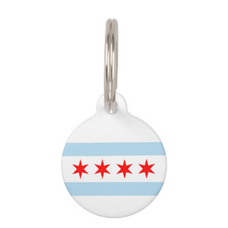 Flag of Chicago, Illinois Pet Name Tag