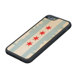 Flag of Chicago Skyline Carved Maple iPhone 6 Bumper Case