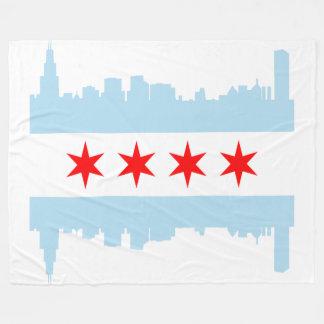 Flag of Chicago Skyline Fleece Blanket