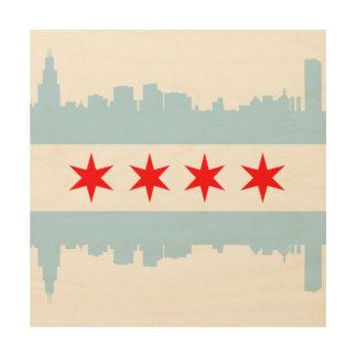 Flag of Chicago Skyline Wood Wall Art