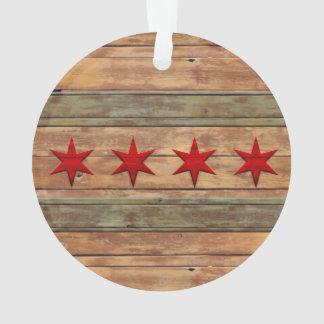 Flag of Chicago vintage wood look