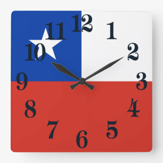 Flag of Chile Square Wall Clock