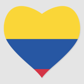 Flag of Colombia - Bandera de Colombia Heart Sticker