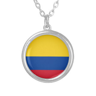 Flag of Colombia - Bandera de Colombia Silver Plated Necklace