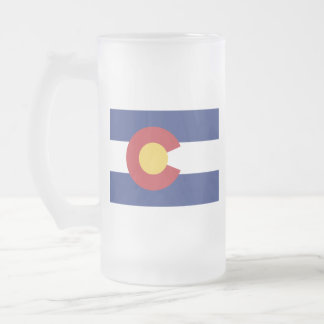 Flag of Colorado Frosted Glass Beer Mug