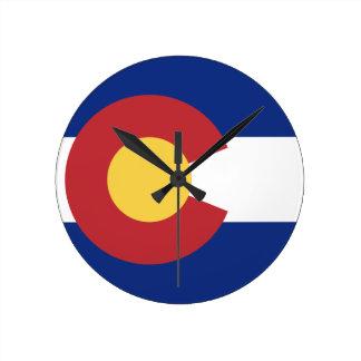 Flag of Colorado Round Clock