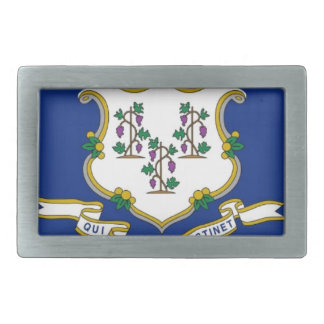Flag Of Connecticut Rectangular Belt Buckle