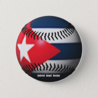 Flag of Cuba on a Baseball 2 Inch Round Button