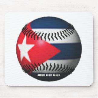 Flag of Cuba on a Baseball Mouse Pad