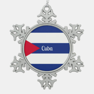 Flag of Cuba Snowflake Pewter Christmas Ornament
