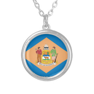 Flag Of Delaware Silver Plated Necklace