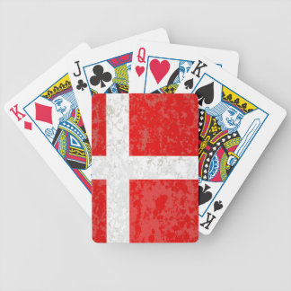Flag of Denmark Grunge Bicycle Playing Cards