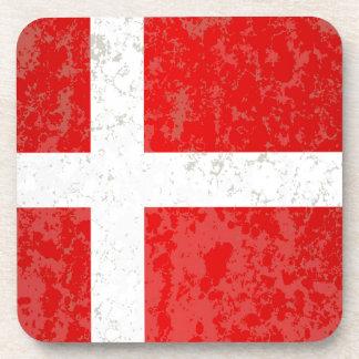 Flag of Denmark Grunge Drink Coaster