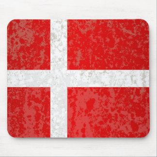 Flag of Denmark Grunge Mouse Pad