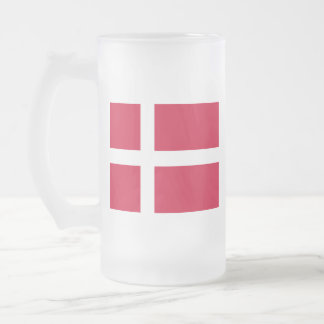 Flag of Denmark or Danish Cloth Frosted Glass Beer Mug