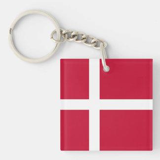 Flag of Denmark - Scandinavian cross Double-Sided Square Acrylic Keychain