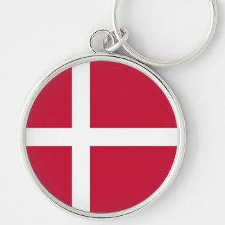 Flag of Denmark - Scandinavian cross Silver-Colored Round Keychain