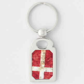 Flag of Denmark Silver-Colored Rectangle Keychain