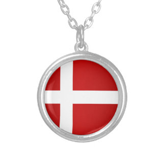 Flag of Denmark Silver Plated Necklace