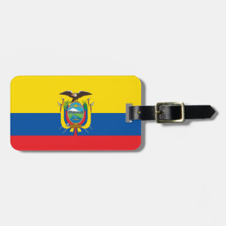 Flag of Ecuador Luggage Tag w/ leather strap