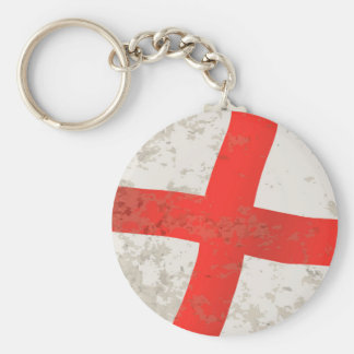 Flag of England and Saint George Grunge Basic Round Button Keychain