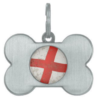 Flag of England and Saint George Grunge Pet Name Tag
