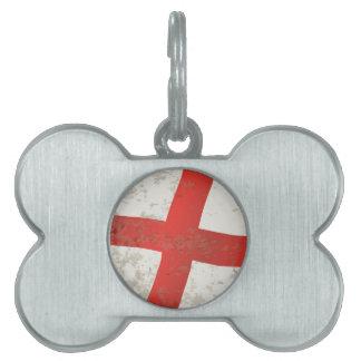 Flag of England and Saint George Grunge Pet Tag