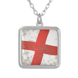 Flag of England and Saint George Grunge Silver Plated Necklace