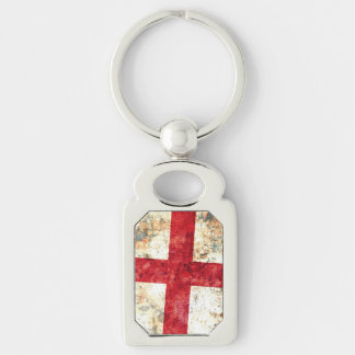 Flag of England Silver-Colored Rectangle Keychain