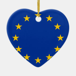 Flag of Europe, European Flag Ceramic Heart Ornament