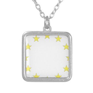 Flag of Europe - European Flag - EU European Union Silver Plated Necklace