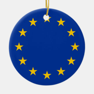 Flag of Europe, European Flag Round Ceramic Ornament