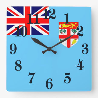 Flag of Fiji Island Square Wall Clock