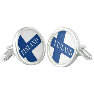 Flag of Finland Blue Cross Suomi Cuff Links